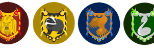 Hogwarts house buttons by lordbatsy