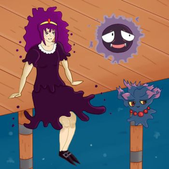 Hex Maniac and her Pokemon by mellowmargarine