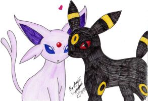 Umbreon and Espeon by x-littleWhiteTiger-x