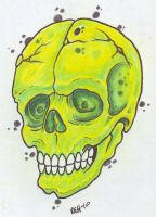 Green Skull by vikingtattoo