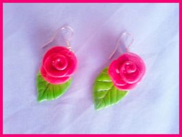 Pink Rose earrings by Christine-E