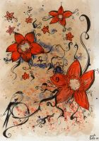 Flowers and a bird by Zinita