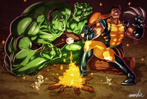 Bonfire Hulk and Wolverine by emmshin