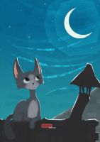 Kitty and the Moon by Deskari