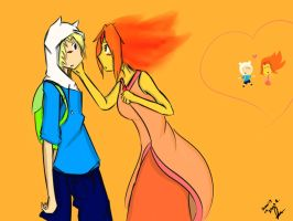 Finn and Flame Princess by AlbertRemong