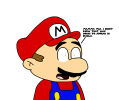 Mario suprised about Pixels by SuperMarcosLucky96