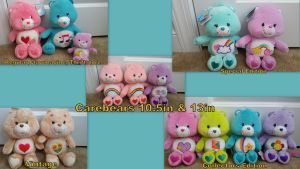 Carebears 10.5in and 13in Collection! by Vesperwolfy87