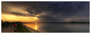 Sunset over the Danube river by Maverick-Srbija
