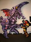 Ridley, Samus, and the Torizo Statue by ChozoBoy