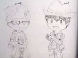 Ness and Lucas as hipsters! by Melomiku
