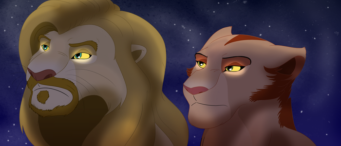 Thor and Black Widow Lions by albinoraven666fanart