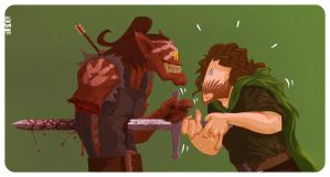 Uruk-Hai VS Aragorn by mrPOW