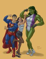 She-Hulk / Superman ~ The Green-Eyed Monster color by jadamfox