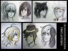 RWBY - sketches by MarieyeohKH24