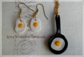 Eggs Breakfast Set [ Fimo Clay Handmade ] by annakoutsidou