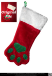 Dog or Cat Paw Shaped Christmas Stocking by DamselStock