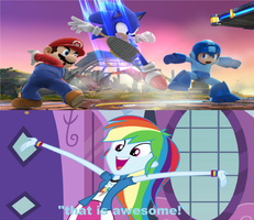 Reaction of rainbow dash to Sonic is back in SSB4 by brandonale