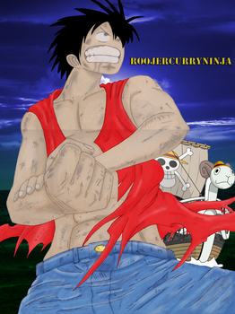 Monkey D Luffy coloured by roojercurryninja