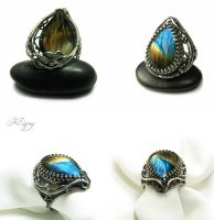 Northern Lights - Labradorite Ring by FILIGRY
