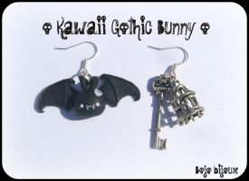 Gothic Bunny Earrings by Bojo-Bijoux