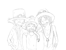 Ruff, Sabo and Ace by xXMiuXx