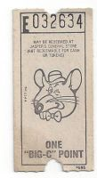 Late 1970's-1980 Chuck E. Cheese's Big C ticket by dth1971