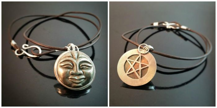Pyrite Face Hidden Pentacle Necklace by MoonLitCreations