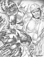 BATMAN and HELLBOY sketch by AdamWarren