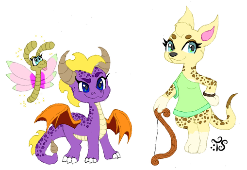 Spyro and Hunter Genderbend (With Sparx) by Toadskippers