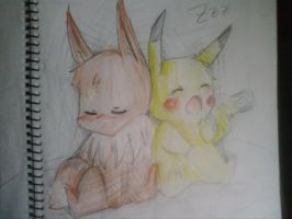 eevee and pikachu by kawamatil
