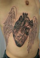 Realistic Heart wings Tat by 2Face-Tattoo