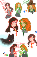Artemis and Aero Sketch Dump by SnowWhite3684