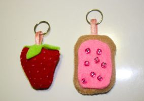 strawberry poptart key chains by Mab-overthrown
