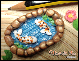Polymer Clay -Koi fish in a Gold Lake by Crystarbor