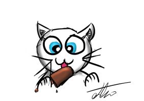 Cat eating a choc ice by Bazil14