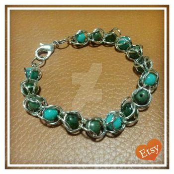 Aqua Beaded Silver Chainmaille Bracelet by RedVelvetsCrafts
