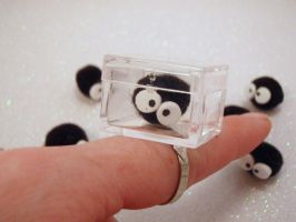 Captured Soot Sprite Capsule Cube Ring by PoniesOfDOOOM