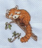 Red Panda cross stitch by Mikha