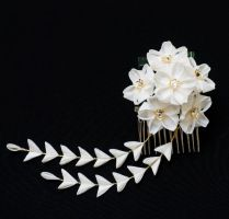 Bridal White Cherry Blossom Kanzashi 182 by japanesesilkflowers