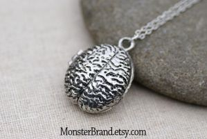 Brain Locket Necklace by MonsterBrandCrafts