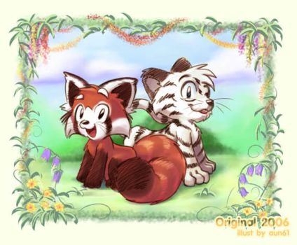 Red Panda and White Tiger by aun61