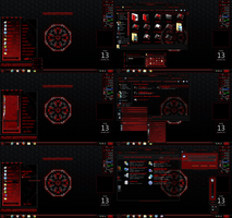 windows 7 theme alien corp. red (corner menu) by tono3022
