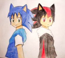 Sonic y shadow anime by kary22