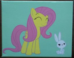 Fluttershy and Angel Bunny by Dorigard