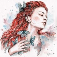 Girl with a butterfly, watercolor by jane-beata