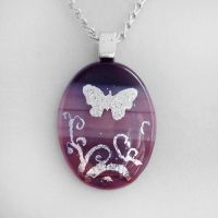 Purple Butterfly Glass Pendant by HoneyCatJewelry