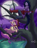 Flutterbat and Marcline (color-shaded) by Wynnefox