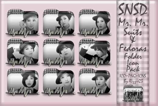 SNSD Mr.Mr. Suits and Fedoras Folder Icon Pack by Rizzie23