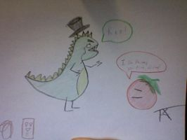 Intellectual Dinosaur and Eric by Sorcyress