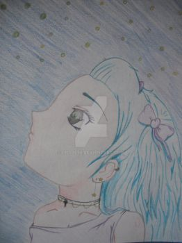 Manga girl looking at the sky of stars by liesje96